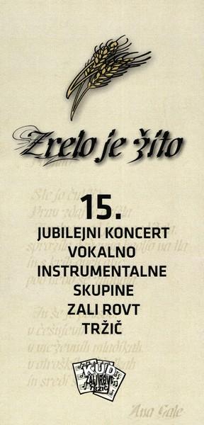 KUD Zali rovt, 2011, 15. jubilejni koncert vokalno instrumentalne skupine Zali rovt Tržič, vabilo 3a