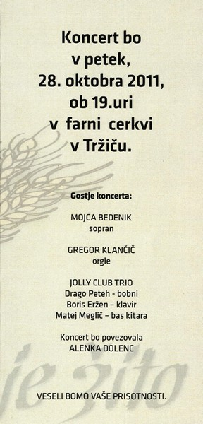 KUD Zali rovt, 2011, 15. jubilejni koncert vokalno instrumentalne skupine Zali rovt Tržič, vabilo 3c
