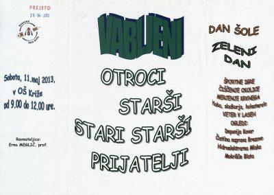 OŠ Križe, 2013, Dan šole, Zeleni dan, vabilo 3a