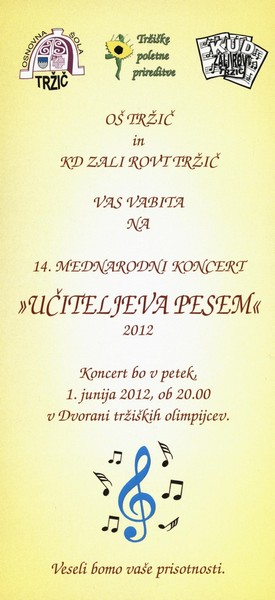 OŠ Tržič, 2012, 14. mednarodni koncert Učiteljeva pesem, vabilo 3a