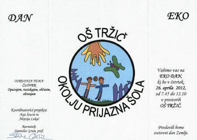 OŠ Tržič, 2012, Okolju prijazna šola, Dan zemlje, vabilo na EKO DAN 3a