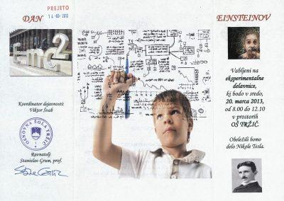 OŠ Tržič, 2013, Einsteinov dan, vabilo 3a