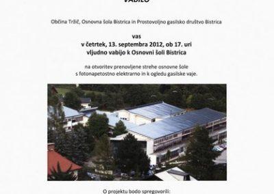 Osnovna šola Bistrica, 2012, vabilo na otvoritev prenovljene strehe osnovne šole s fotonapetostno elektrarno in k ogledu gasilske vaje 3