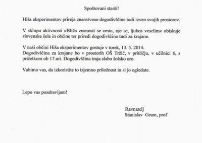 Osnovna šola Tržič, 2014, Hiša eksperimentov, vabilo 3