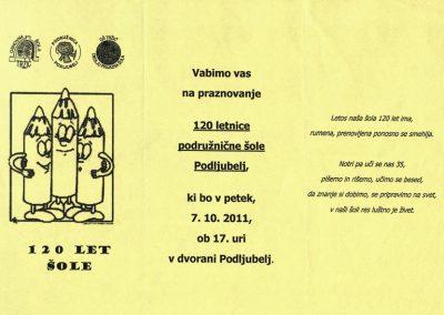 POŠ Podljubelj, 2011, 120 let šole, vabilo na praznovanje 3