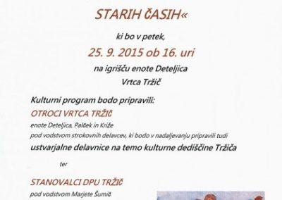 Vrtec Tržič, 2015, dogodek ob otvoritvi dnevov evropske kulturne dediščine, Kako nam v Tržiču zadiši po starih časih, vabilo 3
