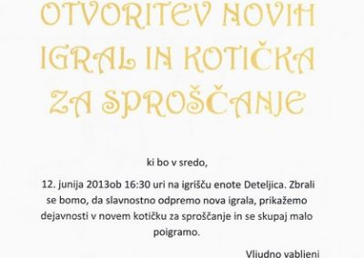 Vrtec Tržič, Enota Deteljica, 2013, Otvoritev novih igral in kotička za sproščanje, vabilo 3
