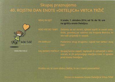 Vrtec Tržič, enota Deteljica, 2014, 40. rojstni dan enote Deteljica Vrtca Tržič, vabilo 3b