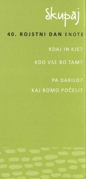 Vrtec Tržič, enota Deteljica, 2014, 40. rojstni dan enote, vabilo 3b