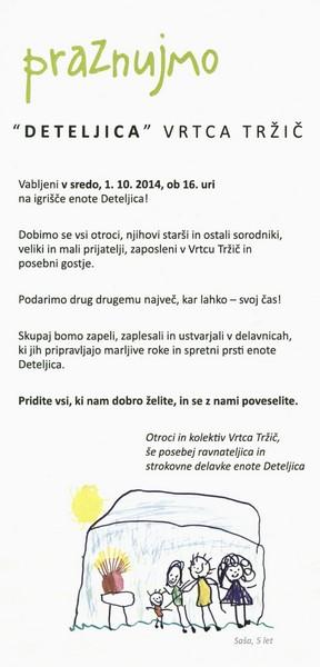 Vrtec Tržič, enota Deteljica, 2014, 40. rojstni dan enote, vabilo 3c